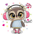 cartoon owl girl with headphones on a white vector image vector image