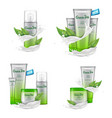 cosmetic set with white splash and green tea vector image