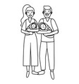 couple carrying babys black and white vector image vector image
