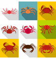 crab icon set flat style vector image