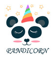 cute unicorn panda pandicorn love vector image