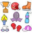 doodle of object sport various vector image vector image