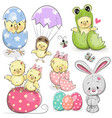 easter set with cute chicken vector image vector image