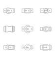 elegance belt buckle icon set outline style vector image