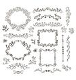 floral decor set hand drawn vintage vector image vector image