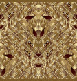 floral greek 3d gold seamless pattern vector image