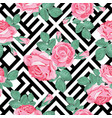 floral seamless pattern pink roses with leaves on vector image vector image