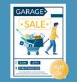 garage sale advertisement banner design vector image