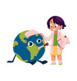 girl playing doctor with globe earth planet vector image vector image