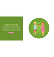 green world banner little boy and girl with small vector image vector image