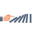 hand business man pushing dominoes vector image