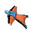 hand drawn sketch wingsuit in color isolated vector image vector image