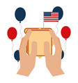 hands with sandwich balloons and american flag vector image