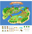 island map with elements set vector image