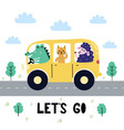 let s go print with cute crocodile cat and sheep vector image