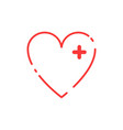 love icon red heart linear heart in trendy design vector image vector image