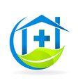 medical clinic symbol nature business logo vector image
