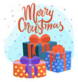 merry christmas presents and gifts greeting card vector image vector image