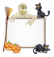 mummy halloween sign vector image vector image