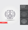 music speaker line icon with editable stroke vector image