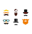 mustache icon set flat style vector image