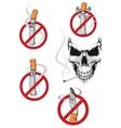 No smoking sign and skull vector image vector image