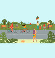 people relaxing in park bicycling doing sport vector image