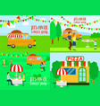 pizza festival food banner concept set flat style vector image