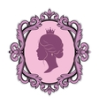profile silhouette of a princess in frame vector image vector image