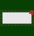 rectangle festive border banner with red bow for vector image vector image