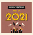 retro 2021 graduation card or social media design vector image