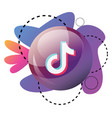 round tiktok app logo bubble with purple pink and vector image vector image