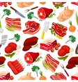 Seamless pattern background of meat products vector image vector image