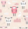 seamless pattern with cute sleeping sheep moon vector image vector image