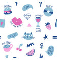 seamless pattern with hand phrases and symbols for vector image vector image