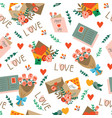 seamless pattern with various romantic mails vector image vector image