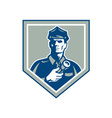 Security Guard Flashlight Shield Retro vector image vector image