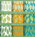set beautiful spring seamless patterns vector image vector image
