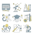 Set flat line icons for web development vector image vector image
