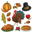 Set of colorful Thanksgiving icons vector image vector image