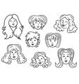 Set of eight cartoon women contour faces vector image