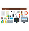 set programming workspace icons flat vector image