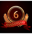 Six years anniversary celebration with golden ring vector image vector image