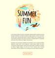 summer fun emblem woman diving afro-american man vector image vector image