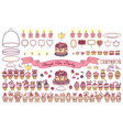 sweet dessert tea party set vector image