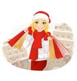 Winter Shoping Girl vector image