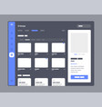 wireframes screens dashboard ui and ux design vector image