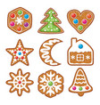set of colorful xmas gingerbread cookies vector image