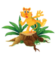 A tiger above the chopped wood vector image vector image