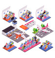 airplane isometric set vector image vector image